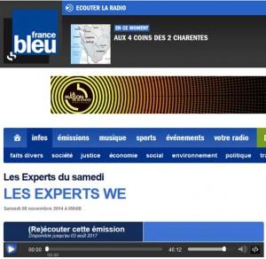 Les experts France Bleu La Rochelle samedi 8 novembre 2014